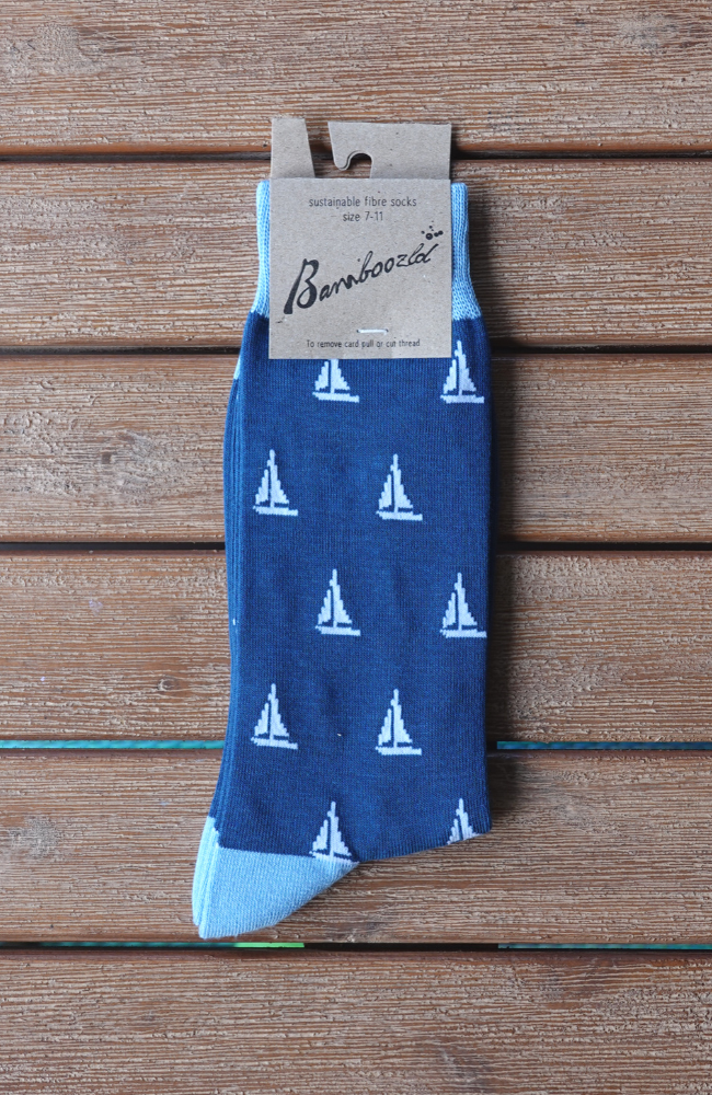 Men's Bamboo Socks Crew Fun Sailing Blue Sizes 7-14 Packaging