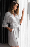 Soft Grey Marle Bamboo Sleep Robe with Shorter 3/4 Length Sleeves
