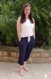 Navy Bamboo Pocket Pants with Adjustable Leg Length