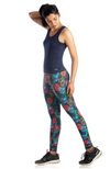 Black Full Length Bamboo / Organic Cotton Yoga Pants in Red, Purple & Blue Floral Print.