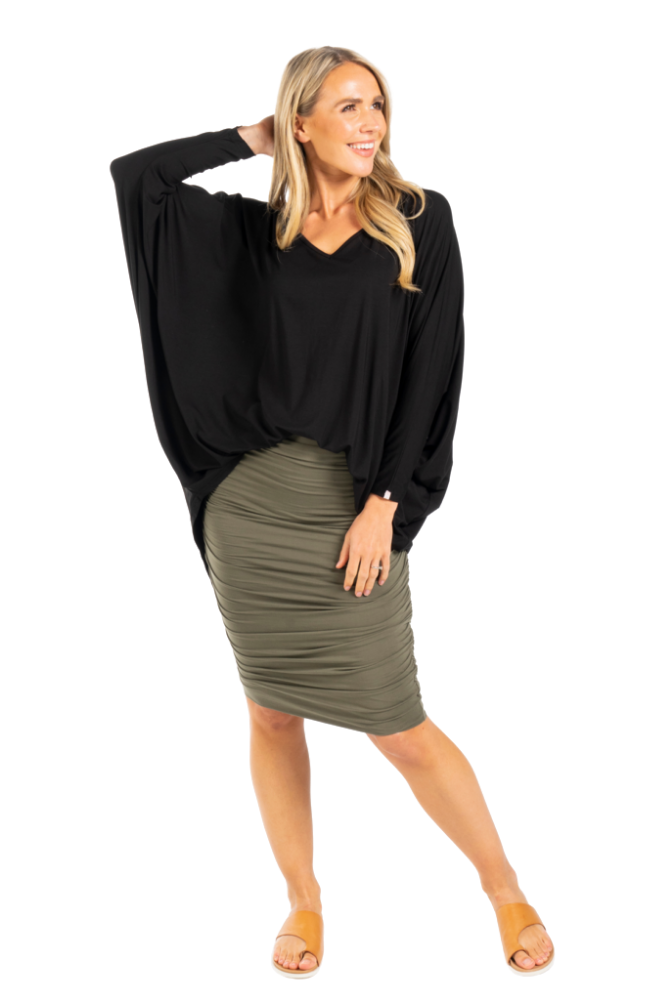Long sleeve bamboo batwing top - Black