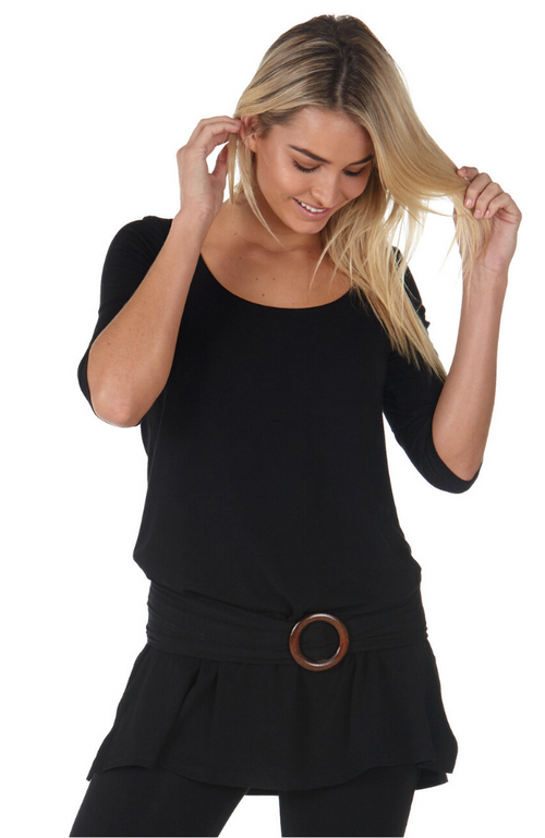 Soft and stretchy black Bamboo Belt with a wooden buckle. Worn with a black bamboo tunic.
