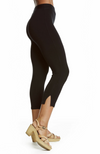 Side View of Black 3/4 Length Capri Pants Made with Bamboo Fabric. Snug Fit.
