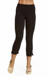 Close Up of Comfy Black 3/4 Length Capri Pants Made with Bamboo Fabric. Snug Fit.