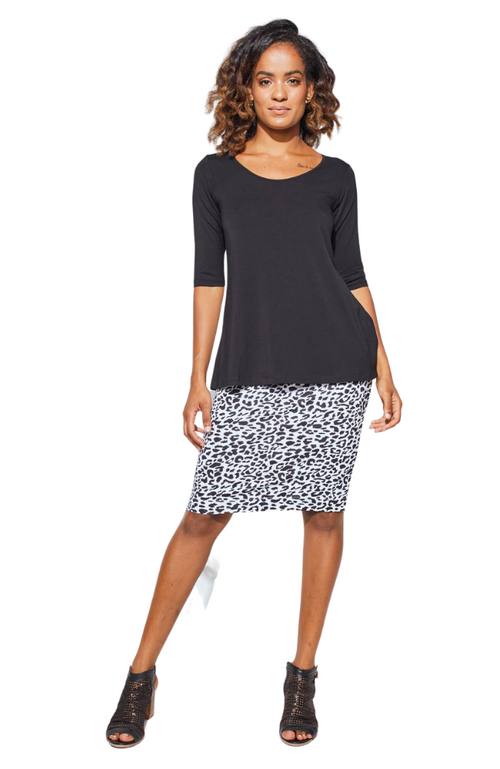 Knee Length Bamboo Tube Skirt in Funky Black & White Leopard Print. Soft, Stretchy, Smooth FInish.