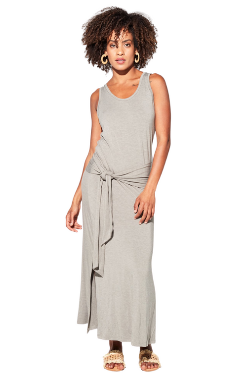 Dressy Bamboo Maxi Dress with Stylish Tie Detail.
