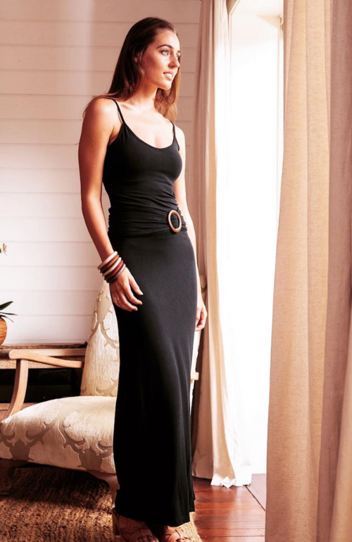 Black Bamboo Maxi Skirt with Bamboo Belt