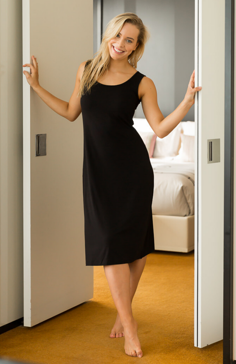 Black Bamboo Mid Length Sleeveless Dress