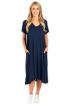 Navy Bamboo T-Shirt Dress with Pockets.
