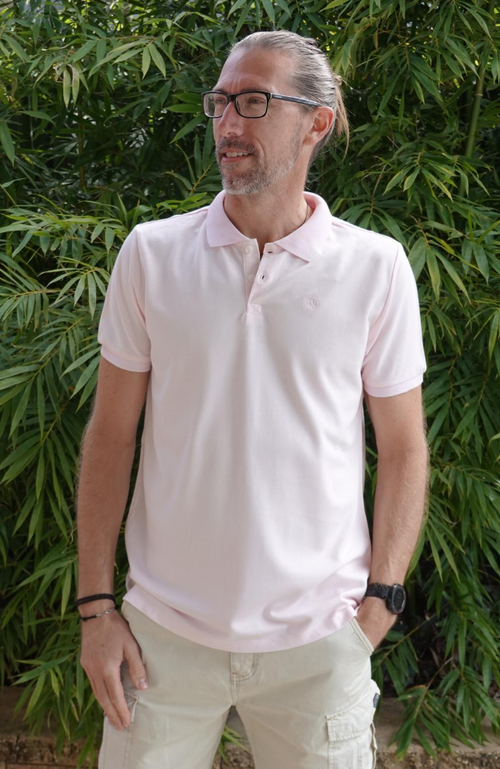Men's Bamboo Polo Shirt Pale Pink.