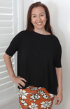 Loose Fitting Bamboo Slouch Top in Black. Fitted Sleeves, One Size Fits All.