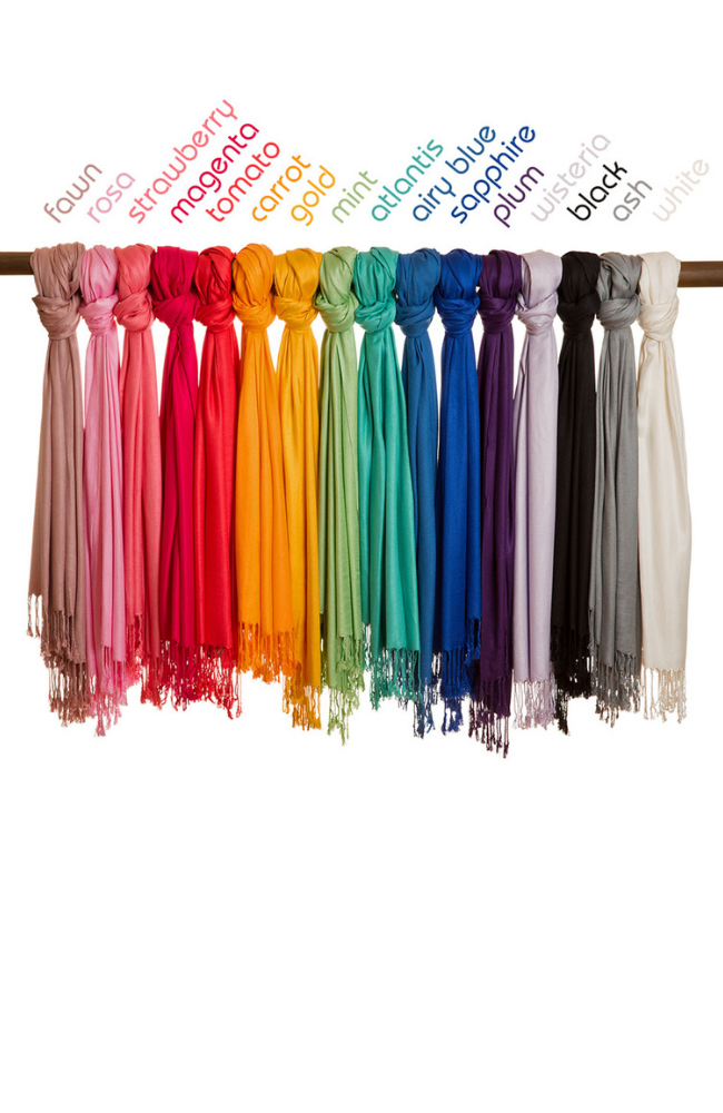 Coloured bamboo scarves
