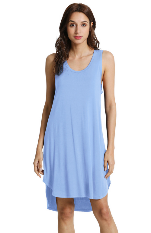 Sleeveless Bamboo Nightie Blue.