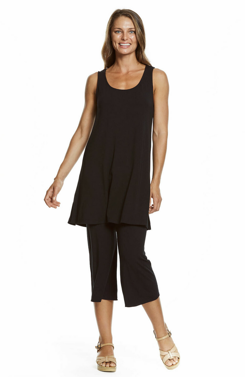 Long Black Sleeveless Bamboo Tunic That Can Be Worn as a Top or Dress.