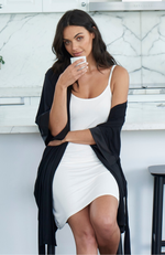 Black Bamboo Sleep Robe with White Bamboo Slip