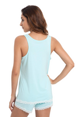 Aqua Green Bamboo Summer PJ Set (shorts & tank) - back