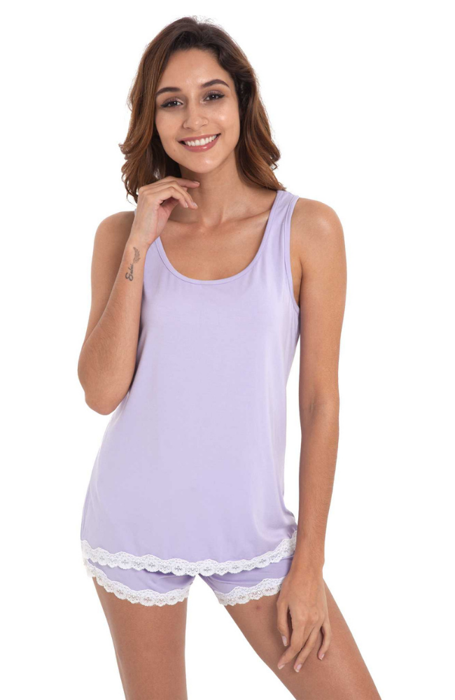 Lilac Bamboo Summer PJ Set (shorts & tank)