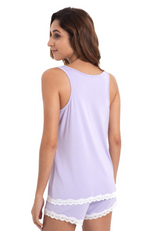 Purple Bamboo Summer PJ Set (shorts & tank) - Back