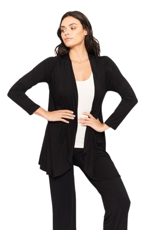 Classic Black Bamboo Long Cardigan