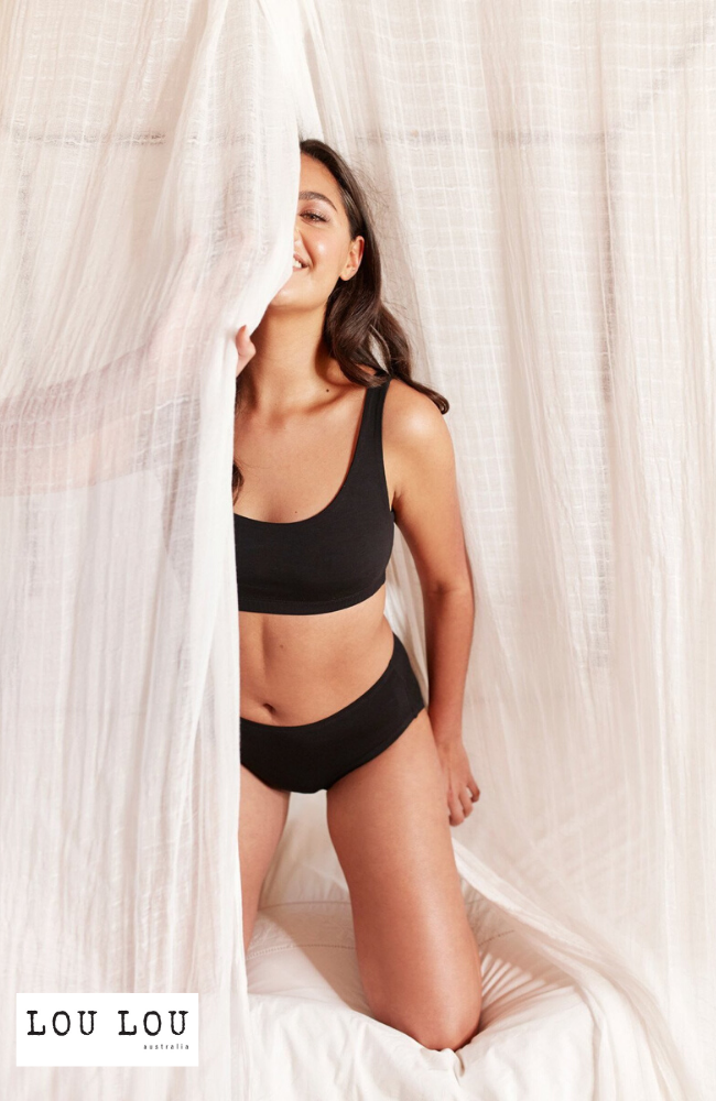 Black Bamboo Underwear: Crop Bra and Knickers.