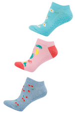 Triple Pack of Bamboo Yoga Socks with Sweet Patterns: Cherry, Jelly Beanz and Daisies. Ladies Size 2-8. Label: Bamboozld.