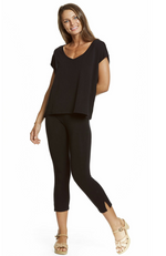Comfy Black 3/4 Length Capri Pants Made with Bamboo Fabric. Snug Fit.