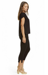 Side View of Comfy Black 3/4 Length Capri Pants Made with Bamboo Fabric. Snug Fit.