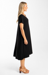 Black Bamboo T-Shirt Dress with Pockets - Plus Size (side)