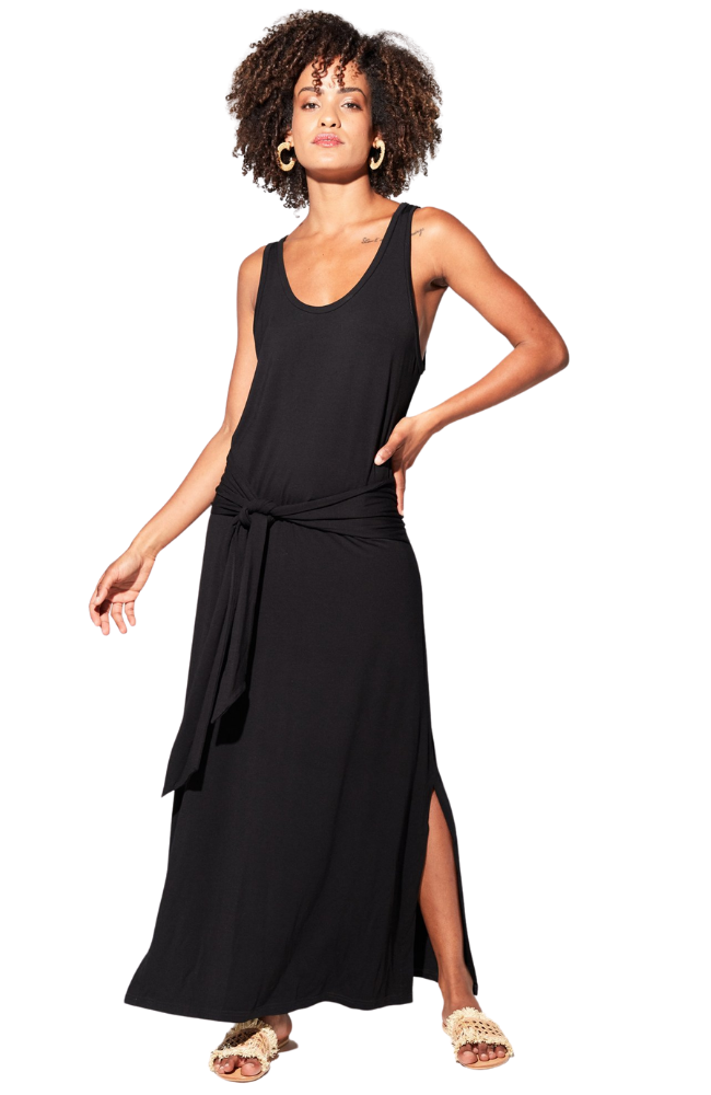 Black Bamboo Maxi Dress with Stylish Tie Detail.