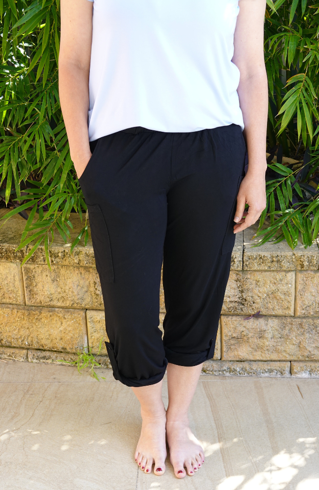 Black Bamboo Pocket Pants - Adjustable Length