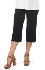 Close Up of 3/4 Length Black Bamboo Resort Pants / Culottes. Relaxed Fit.