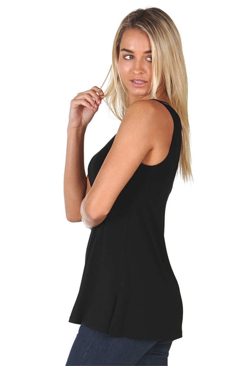 Black Relaxed Fit / A-Line Bamboo Singlet Top.