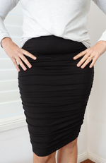 Black Ruched Bamboo Mid Length Skirt with Side Ruching.