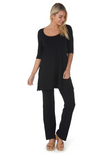 Reversible Bamboo Tunic with 3/4 Length Sleeves. Relaxed Fit to Thigh.