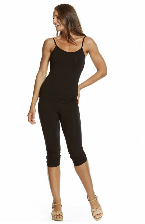 Cropped, 3/4 Length Black Bamboo Leggings.