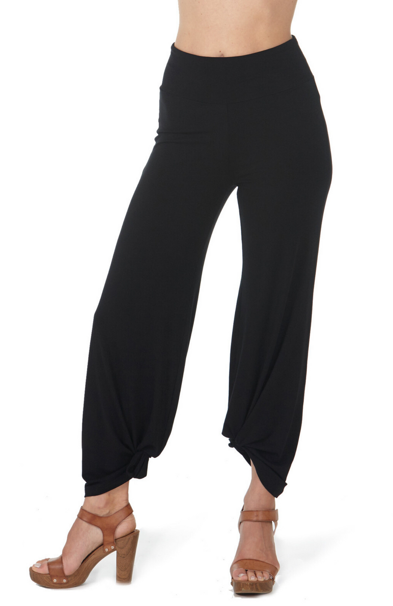 Close Up of Soft and Drapey Black Harem Style Bamboo Pants in Black.