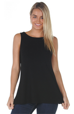 Black Relaxed Fit Bamboo Singlet Top.