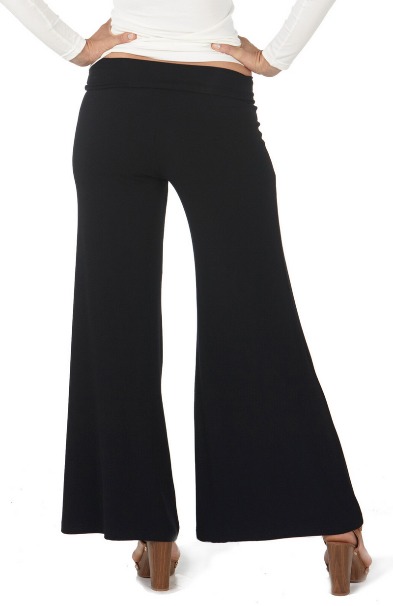 Reverse of Soft and Drapey Black Wide Leg Bamboo Pants in Black.
