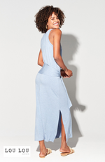 Soft Blue  Bamboo Maxi Dress with Stylish Tie Detail.