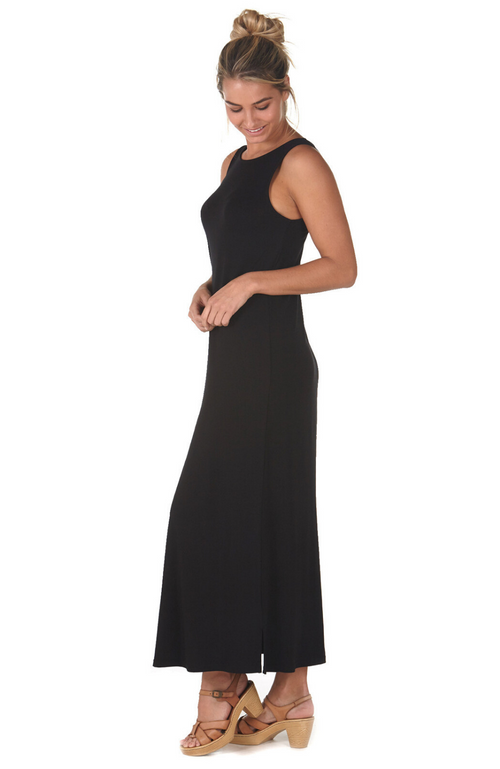 Black Bamboo Maxi Dress with Reversible Neckline: Scoop or Elegant Boatneck. Sleeveless and Chic Look.