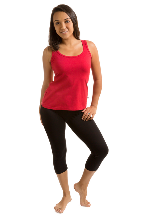 Cropped, 3/4 Length Black Bamboo Leggings. Activewear Leggings.