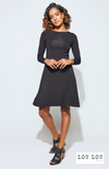 Short Bamboo Long Sleeve Dress in Black. Label: LouLou.