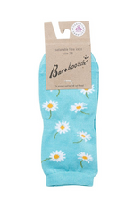 Bamboo Yoga Socks with Daisy Pattern. Ladies Size 2-8. Label: Bamboozld.