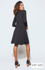 Cute Bamboo Long Sleeve Dress in Black. Label: LouLou.