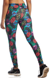 Reverse Side of Black Full Length Bamboo / Organic Cotton Leggings in Red, Purple & Blue Floral Print.
