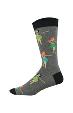 Men's Grey Bamboozld Bamboo Socks Hula Girl design