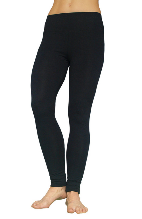 Long Length Bamboo Leggings - Black