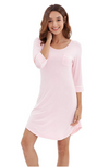 Long sleeve bamboo nightie in pale pink