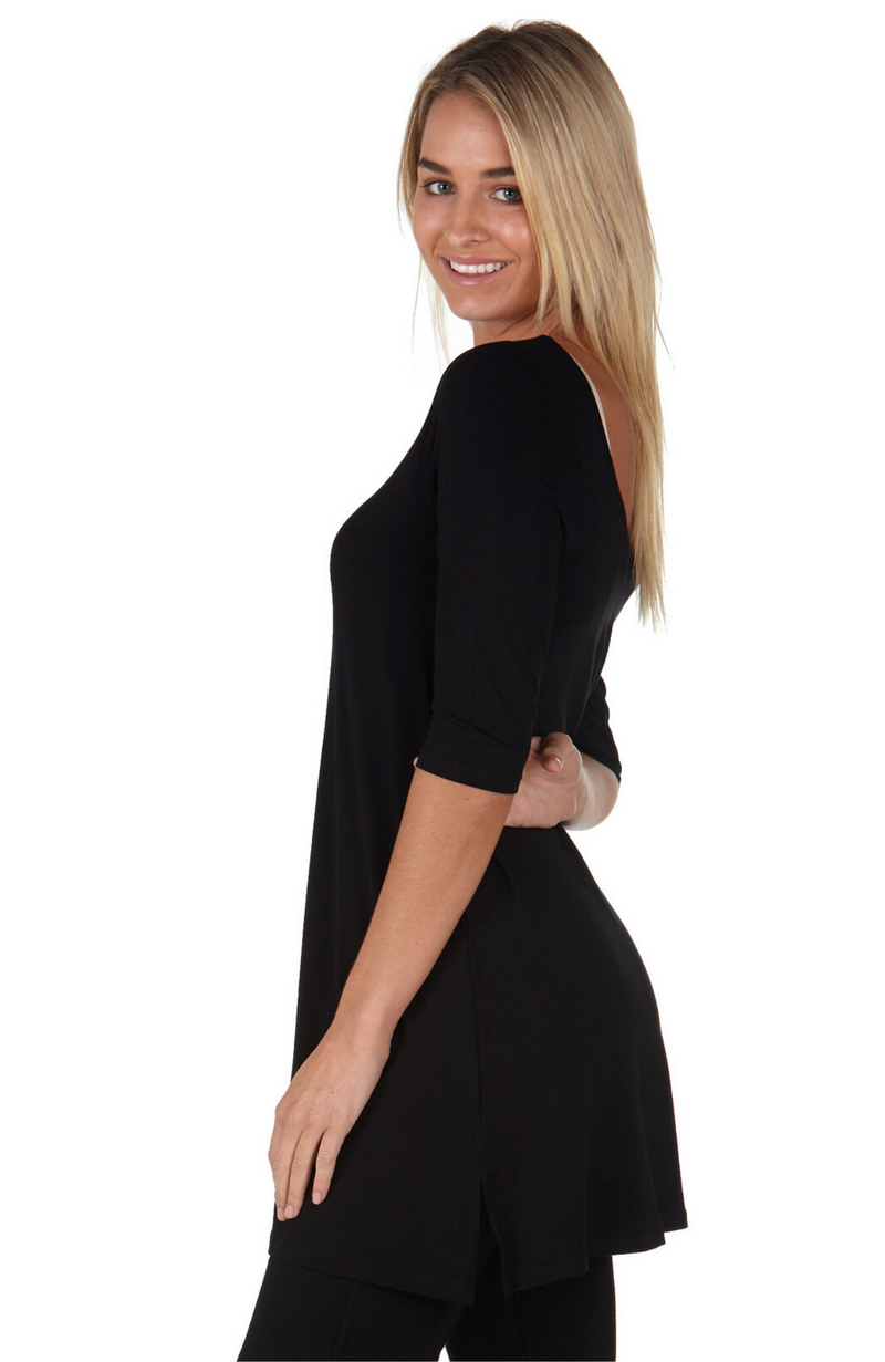 Reversible Black Bamboo Tunic with 3/4 Length Sleeves.