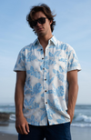 100% Bamboo Men's Short Sleeve Shirt. White with Pale Blue Leaf Print. Coconut Shell Buttons.
